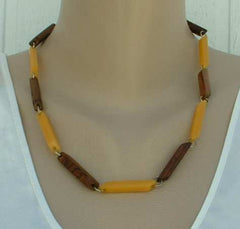 Butterscotch Faux Wood Geometric Link Necklace Vintage Jewelry