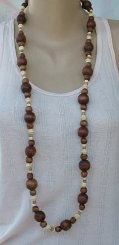 Avon Bead Necklace Wood Long 42 Inches Vintage Jewelry