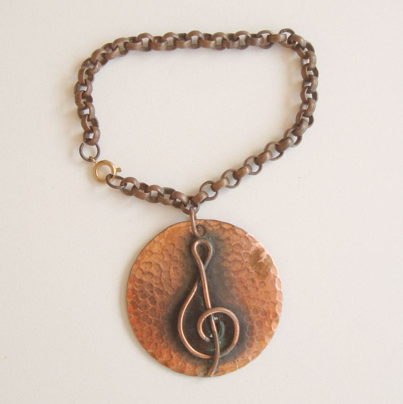 Copper Music Clef Large Charm Bracelet Musical Vintage Jewelry