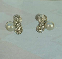 Faux Pearl Rhinestone Screw Earrings Vintage Jewelry