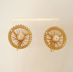 BOUCHER Openwork Pinwheel Clip Earrings with Pearls Vintage Jewelry