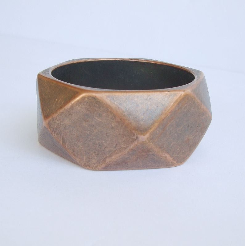 Copper Wide Bangle Bracelet Geometric Faceted Vintage Jewelry