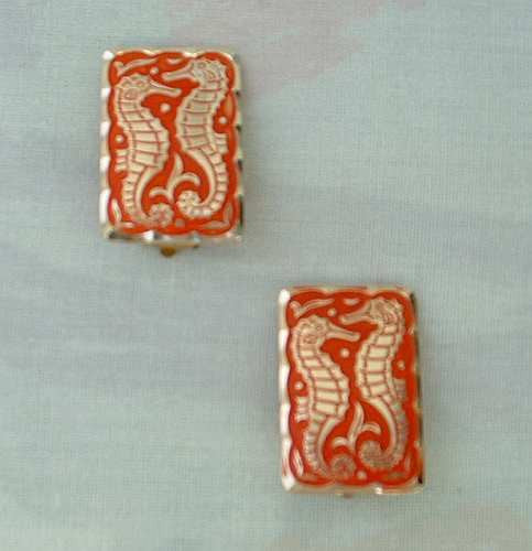 Junolite signed Seahorse Earrings Clip Style Red-Orange Enamel Lightweight Jewelry