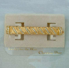 Christian DIOR France Hair Barrette Crystals Jewelry New on Card