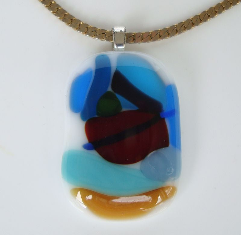 Fused Glass Pendant Necklace Abstract Design Multicolor Artist Jewelry