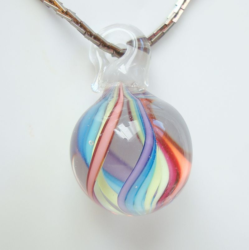 Spiral Swirled Colorful Round Lampwork Bead Pendant Necklace Newer Jewelry