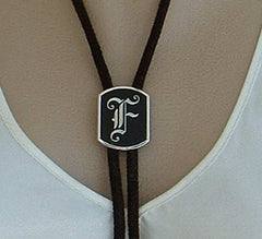 Swank Monogrammed F Bolo Necklace Frank Fred Felix Vintage Jewelry