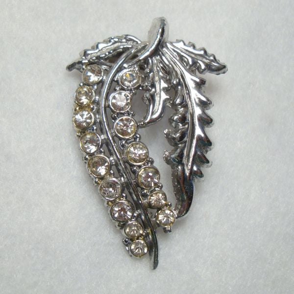 Rhinestone Studded Floral Brooch with Leaves Vintage Jewelry