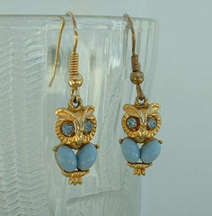 Owl Earrings Blue Rhinestone Eyes Blue Cabochon Bodies Cute Animal Jewelry