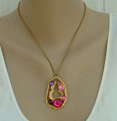 Hot Pink Amethyst Rhinestone Pendant Necklace Openwork Matt Goldtone Vintage Jewelry