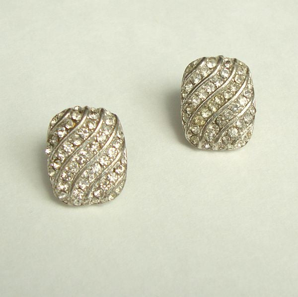 Sparkling Rectangular Rhinestone Earrings Pave Set Pierced Ears Vintage Jewelry