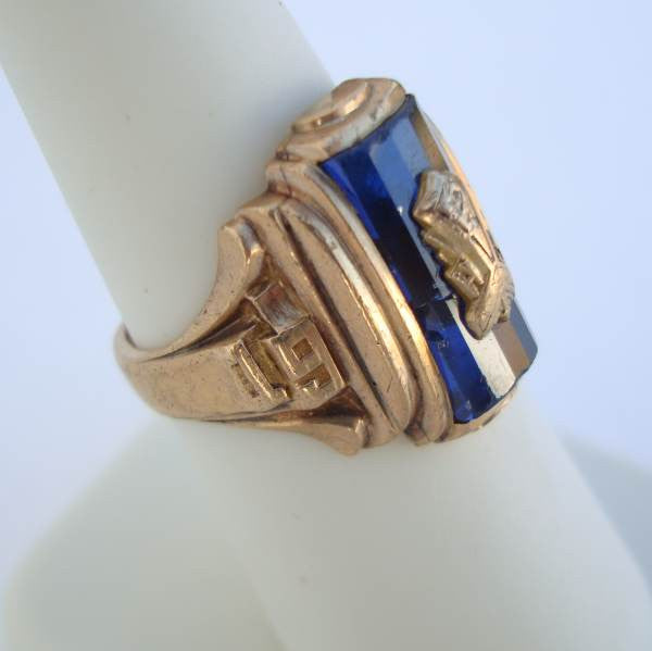 Kansas 1954 Spies Class Ring 10K Gold Cobalt Blue Size 7.5 Vintage Jewelry