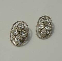 Rhinestone Clip On Earrings Openwork Star Cross Ovals Vintage Jewelry