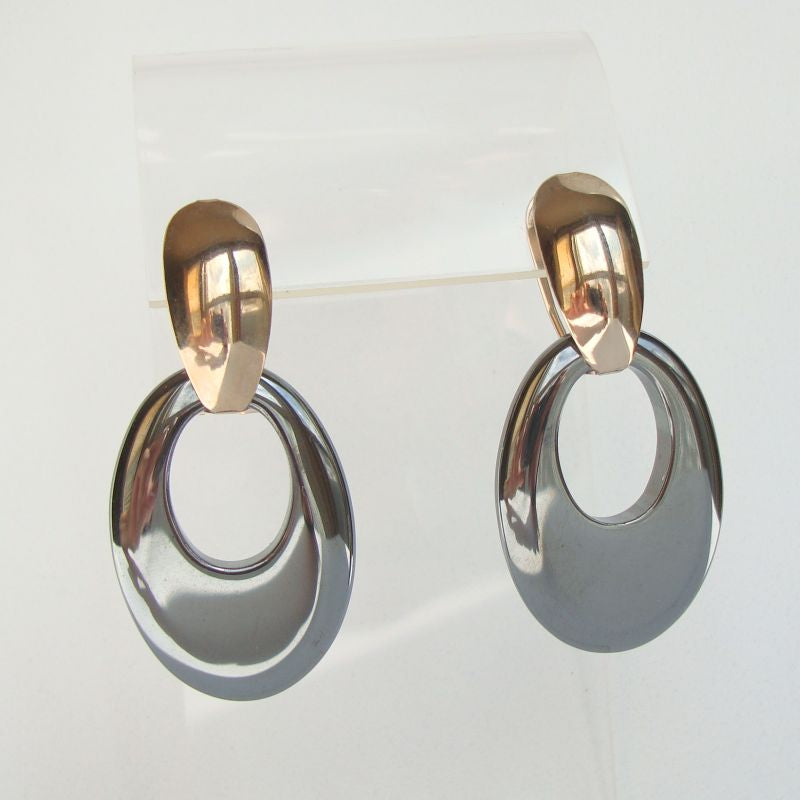 Hematite Leverback Convertible Earrings Doorknocker Style Jewelry