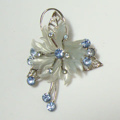 Blue Rhinestone Floral Spray Brooch Vintage Jewelry