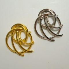 CELEBRITY NY Pair Silvertone Goldtone Brooches Swirled Vintage Jewelry