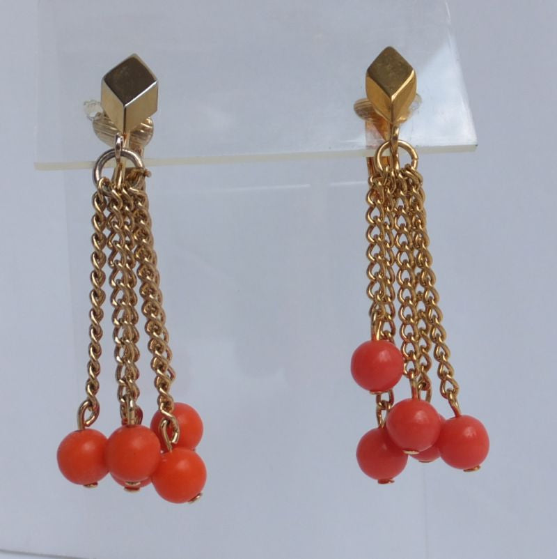 Celebrity NY Orange Bead Chain Tassel Clip On Earrings Vintage Jewelry