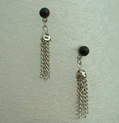 Designer Signed Black Bead Chain Tassel Earrings Post Style Vintage Jewelry
