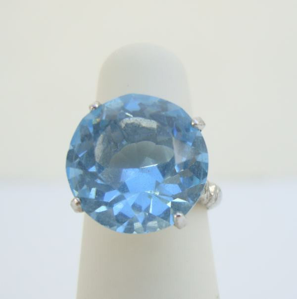 Vargas Aqua Blue Brilliant Cut Ring Glass Sterling Silver Size 4 Vintage Jewelry