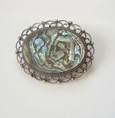 Mexican Sterling Silver Abalone Lace Pin Crown Mark Vintage Jewelry