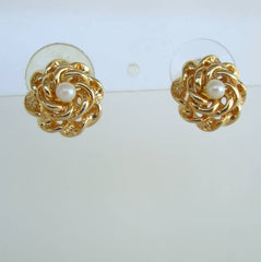 Petite Pearl Stud Earrings Extra Long Posts Vintage Floral Jewelry