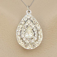 Large Teardrop Pendant Necklace Brooch Rhinestone Pavé Studded Vintage Jewelry