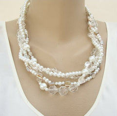 Classy 4 Strand Pearl Crystal MOP Necklace Wedding Prom Jewelry