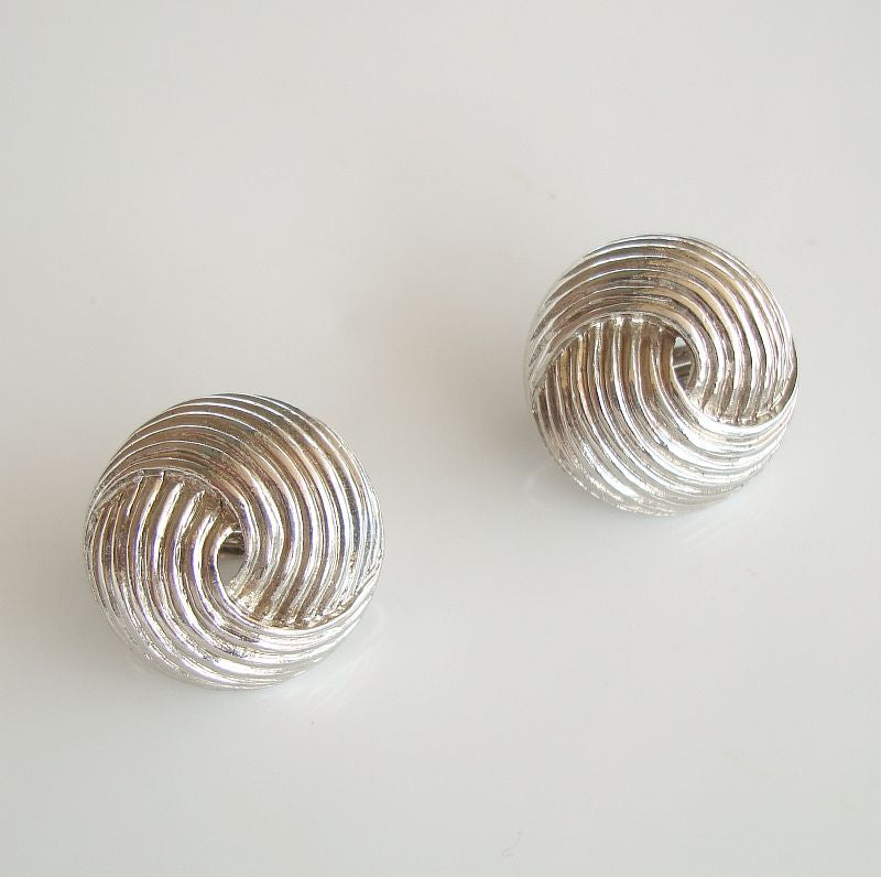 Sarah Coventry Unnamed Swirl Button Clip On Earrings Vintage Jewelry