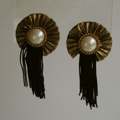 Faux Pearl Gold Lame Cloth Dangle Clip Earrings Shoulder Dusters Unusual Vintage Jewelry