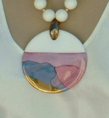 Large Abstract Enameled Pendant Necklace Pink White Blue Vintage Jewelry