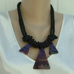 Purple Abstract Double Corded Drop Necklace Braided Unusual Material Jewelry