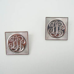 Coro Retro 1940s Monogrammed Clip On Earrings Vintage Jewelry