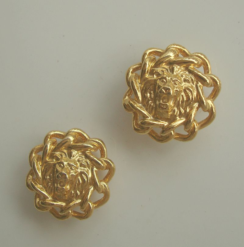 Roaring Lion Clip On Earrings Goldtone Figural Jewelry