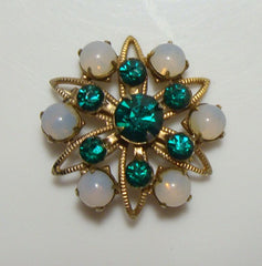 Small Emerald Green Lace Pin Rhinestones Glass Moonstones Vintage Jewelry