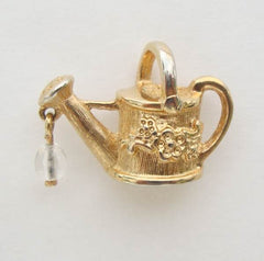 Watering Can Tie Tac Lapel Pin Goldtone Figural Garden Jewelry