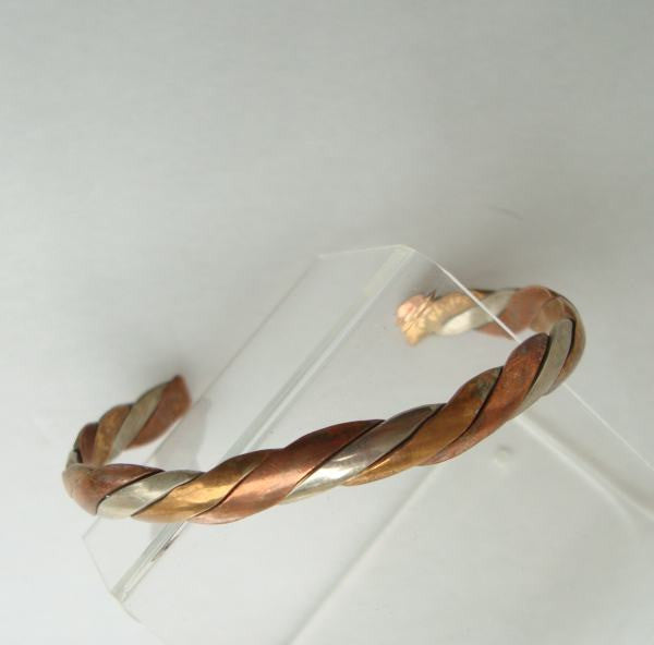 Silver and Copper Plated Twisted Cuff Bracelet Vintage Jewelry