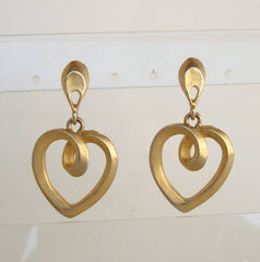 Matt Goldtone Heart Drop Post Earrings Vintage Jewelry