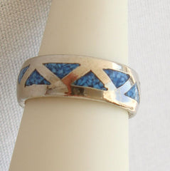 Geometric Inlaid Turquoise Ring Size 6.5 Rhodium Plated Silver
