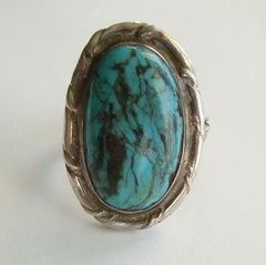 NA Turquoise Ring Size 10 Matrix Sterling Silver Vintage Gemstone Jewelry