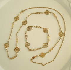 Avon Long Openwork Chain Necklace Pearls Matching Bracelet Jewelry Set