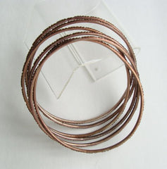 Six 6 Thin Copper Plated Bangle Bracelets Textured Jewelry