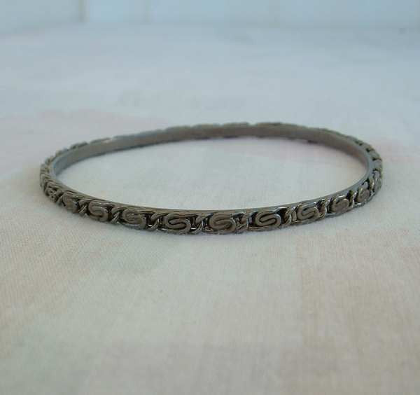 Greek Key Japanned Bangle Bracelet Blackened Vintage Jewelry