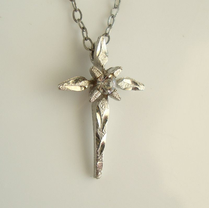Tiny Laser-Cut Cross Pendant Necklace Rhinestone Religious Jewelry