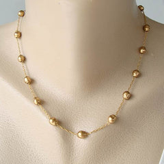 Nancy and Rise Matt Goldtone Bead Chain Necklace Delicate Jewelry