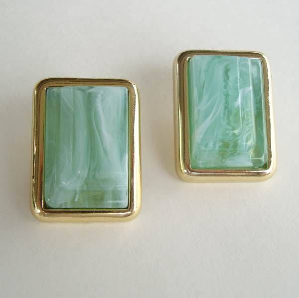 Retro Green Marbled Lucite Geometric Rectangular Earrings Post Style Vintage Jewelry