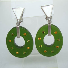 Retro Olive Green Clip On Earrings Hoops Rhinestones Vintage Jewelry
