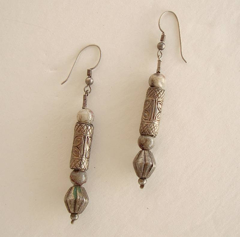 Egyptian Revival Jasper Earrings Embossed Sterling Silver Vintage Jewelry