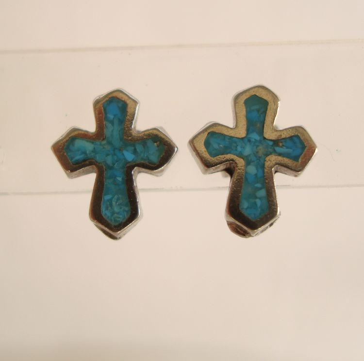 Turquoise Chip Cross Post Earrings Silvertone Religious Jewelry