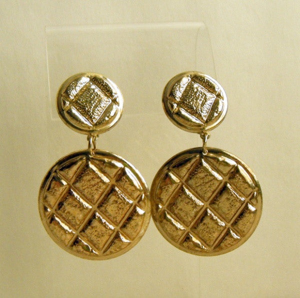 Lightweight Dangle Clip On Earrings Geometric Diamond Pattern Vintage Jewelry