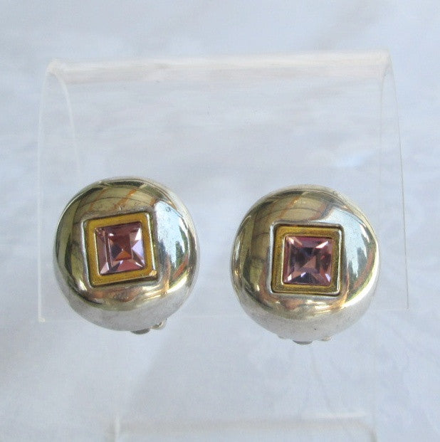 Table Cut Amethyst Rhinestone Dome Clip Earrings Classy Vintage Jewelry